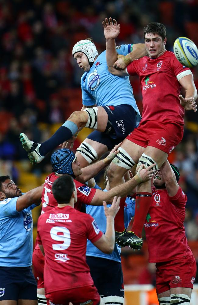 Rob Simmons wins a lineout for the Reds against the Waratahs.