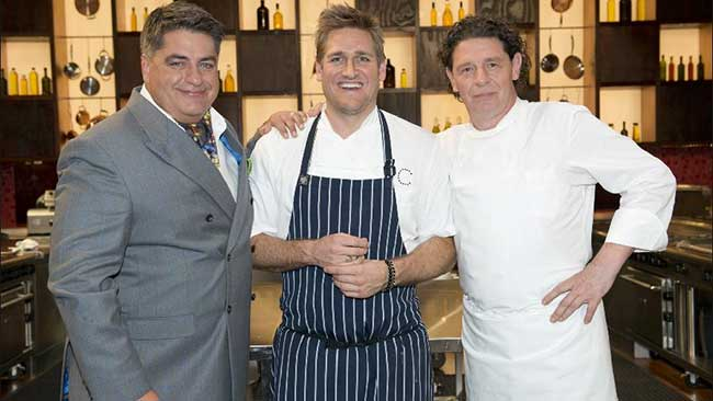 Curtis with mentor Marco Pierre White and Matt Preston