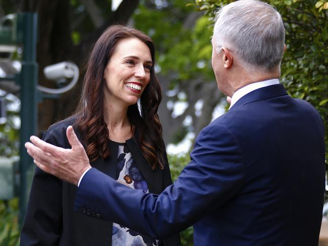 Malcolm Turnbull greets New Zealand Prime Minister Jacinda Ardern. Picture: AAP