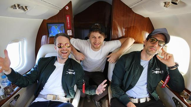 Coolboys and the Frontman on their private jet earlier this week.
