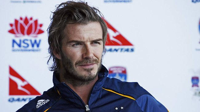 Beckham speaks to the media upon his arrival in Sydney in 2010 with LA Galaxy.