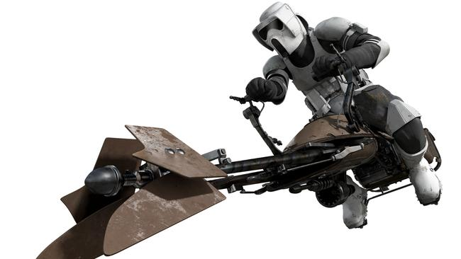 High drama ... A Stormtrooper sits astride a speeder bike from the Star Wars movie, Return of the Jedi.