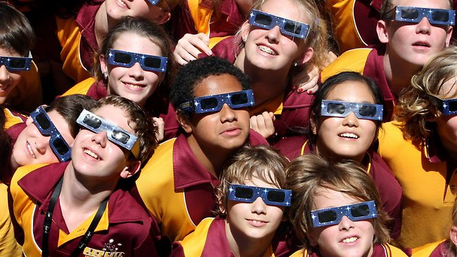 One-in-a-lifetime: Edge Hill State School students prepare for the solar eclipse.