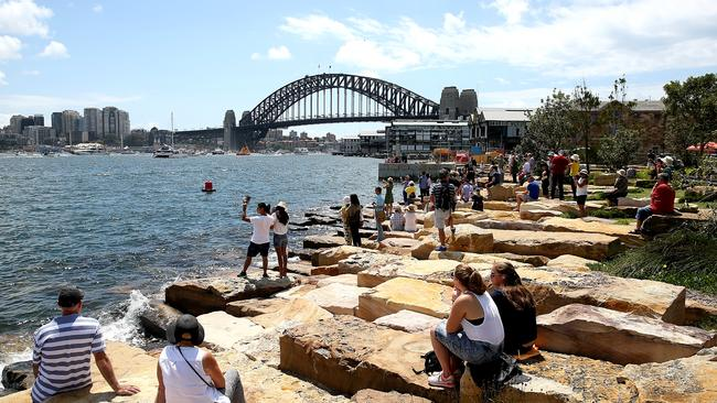 Barangaroo will retain public space, such as the headlands with its engineered sandstone foreshore (above). Picture: News Corp.