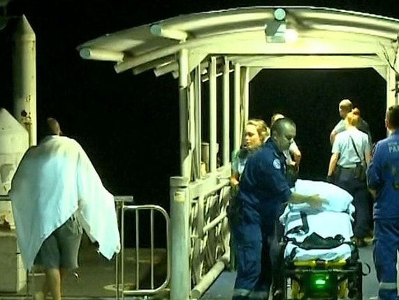 The man was offered assistance by paramedics when they got him to shore. Picture: 9 News
