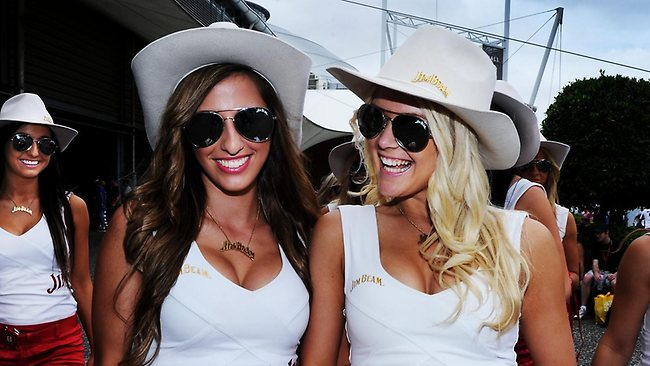 Jim Beam promo girls pictured during the Sydney Telstra 500 V8 Supercars motor race in Sydney Olympic Park on Sunday. Picture: Braden Fastier