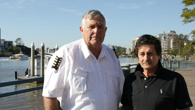 Saviours: Former ferry captain John Barnett and former deckhand Stuss Read, who dragged Donna from the water. Picture: ABC