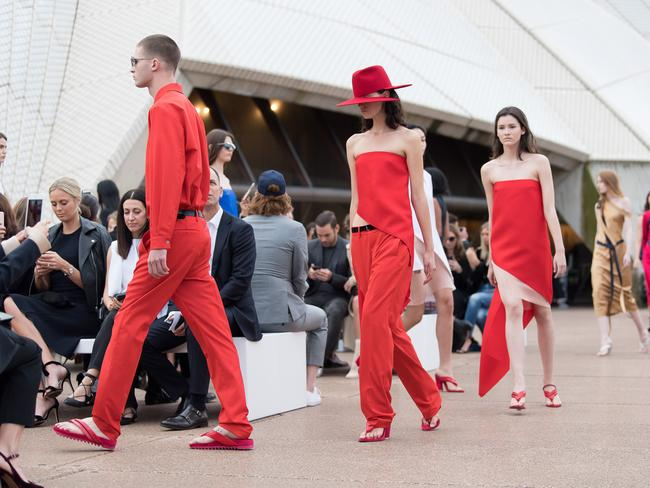 Models pictured walking the runway during the Dion Lee show on day one of Mercedes-Benz Fashion Week Australia in Sydney. Picture: Wendell Teodoro
