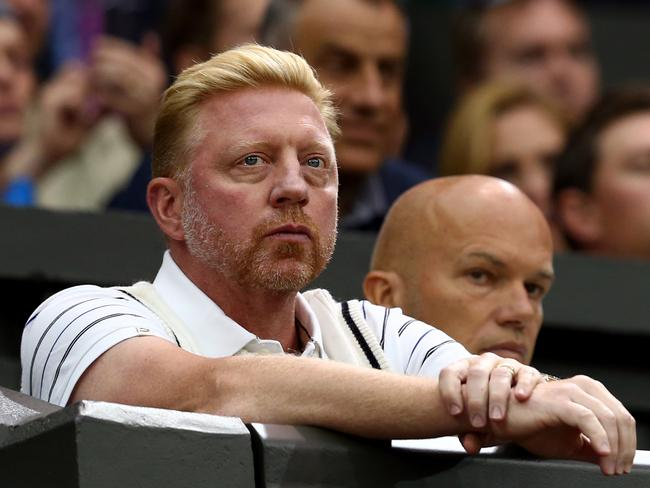 Boris Becker at Wimbledon this year, where he is coaching Novak Djokovic.