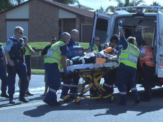 Michael Hannon treated at the scene of the crash. Picture: TNV