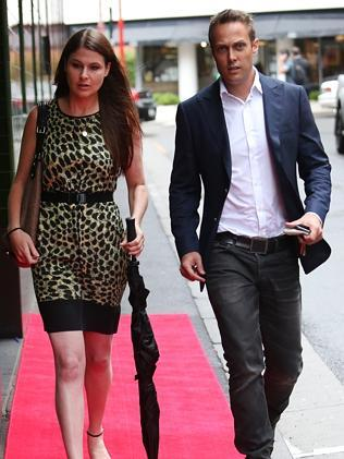 Jessica and Matt Shirvington arrive at the Charlotte Dawson memorial. Picture: Richard Dobson