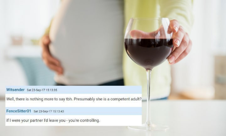 Dad seeks advice about pregnant wife's drinking and gets a surprising reaction
