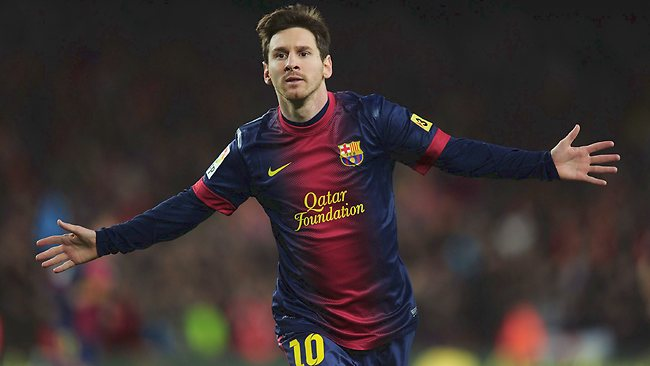 Lionel Messi celebrates after scoring against Atletico de Madrid at the Camp Nou stadium in Barcelona. Picture: AFP
