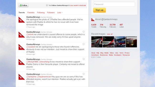 Qantas quickly apologised for posting the picture after a flood of angry complaints. Picture: Twitter