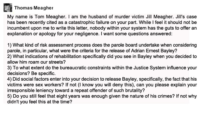 An email from Tom Meagher to the Adult Parole Board demanding answers over his wife's death.