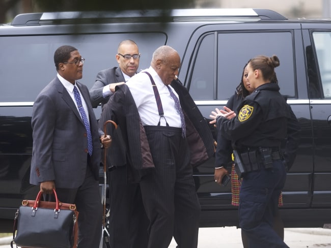 Bill Cosby arrives at the Montgomery County Courthouse for the first day of his sexual assault retrial in Norristown, Pennsylvania. Photo: Mark Makela / Getty