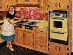 Another advertising feature highlighting an ecstatic 1950s housewife in her kitchen. Check out all that wood pannelling.