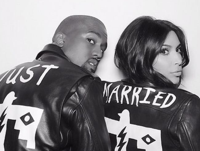Kim Kardashian and Kanye West on their wedding day.