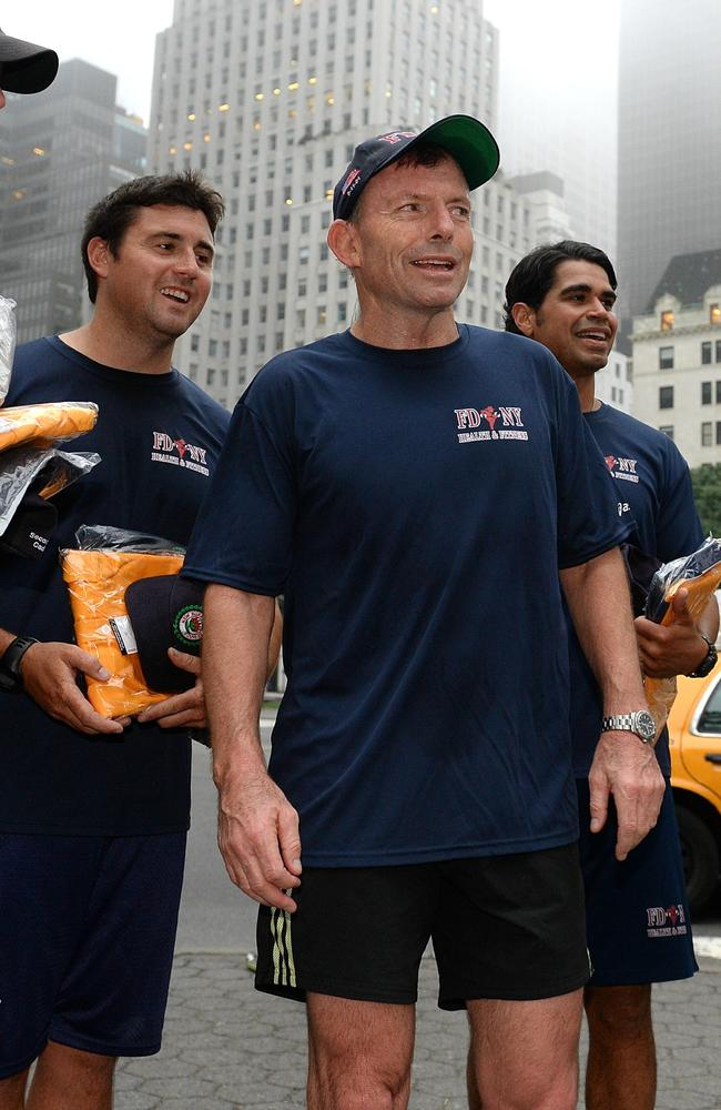 Run Tony run... The PM has been keeping up his exercise while in NYC. Picture: Jake Nowakowski