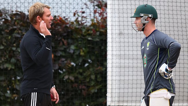 Shane Warne engaged in an animated conversation with Aussie skipper, and great mate, Michael Clarke in the Old Trafford nets. Picture: Getty Images