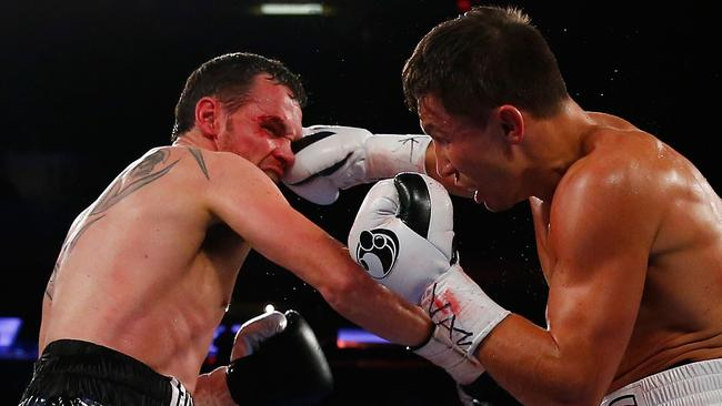 Gennady Golovkin punches Daniel Geale in New York City.