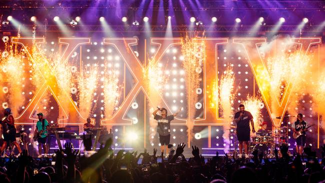 Bruno Mars rocking Rod Laver Arena in Melbourne. Picture: Live Nation