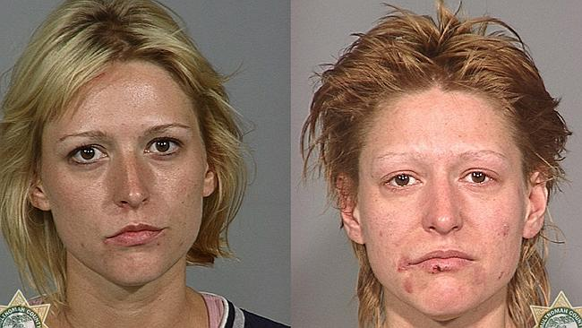"Classic ""before and after"" mugshots of methamphetamine drug addict in the US from the ""faces of meth"" campaign. Picture: Multnomah County Sheriffs Office, Oregon, US."