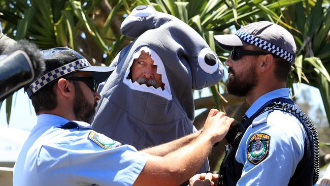 Protesters were out in force when Premier Mike Baird launched the shark nets at Ballina last month. Picture: Adam Head
