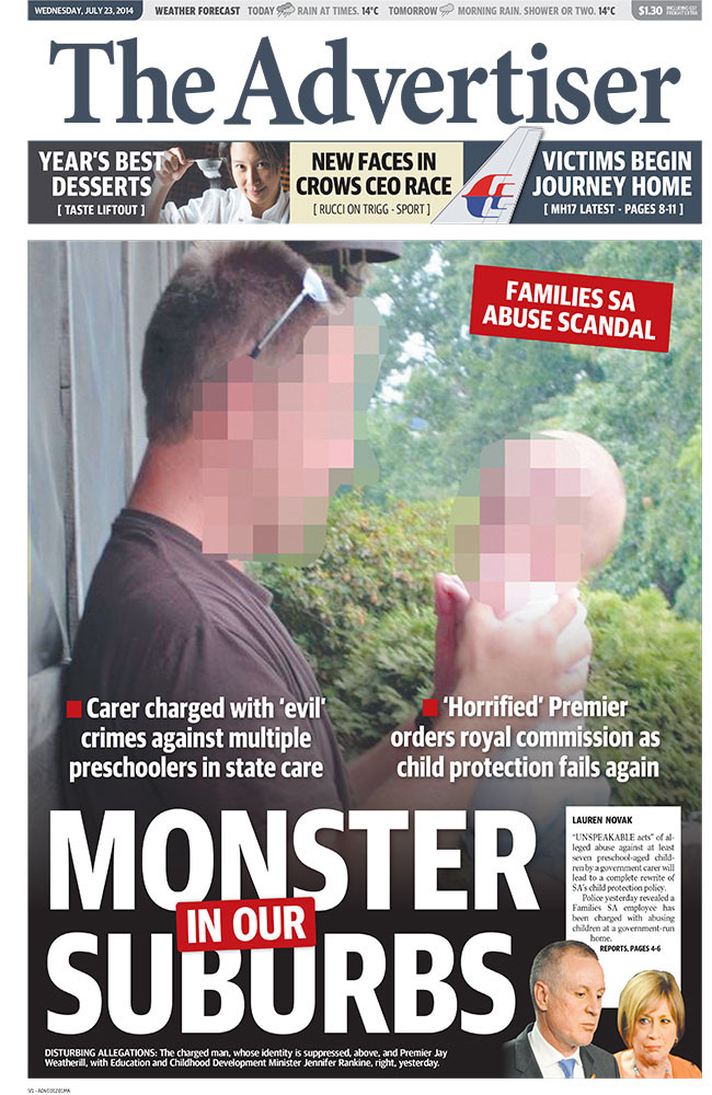 The Advertiser's front page for July 23.