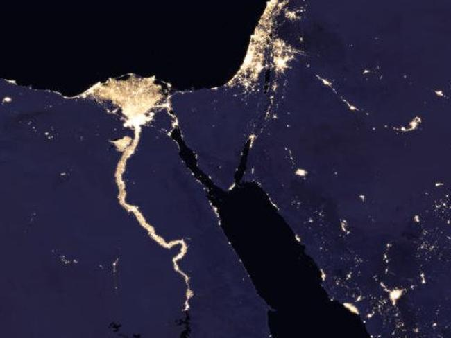 The Nile River and surrounding regions at night. Picture: NASA Earth Observatory images by Joshua Stevens.