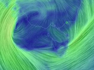 A wind map of Tasmania and South-East Australia. Picture: www.earth.nullschool.net