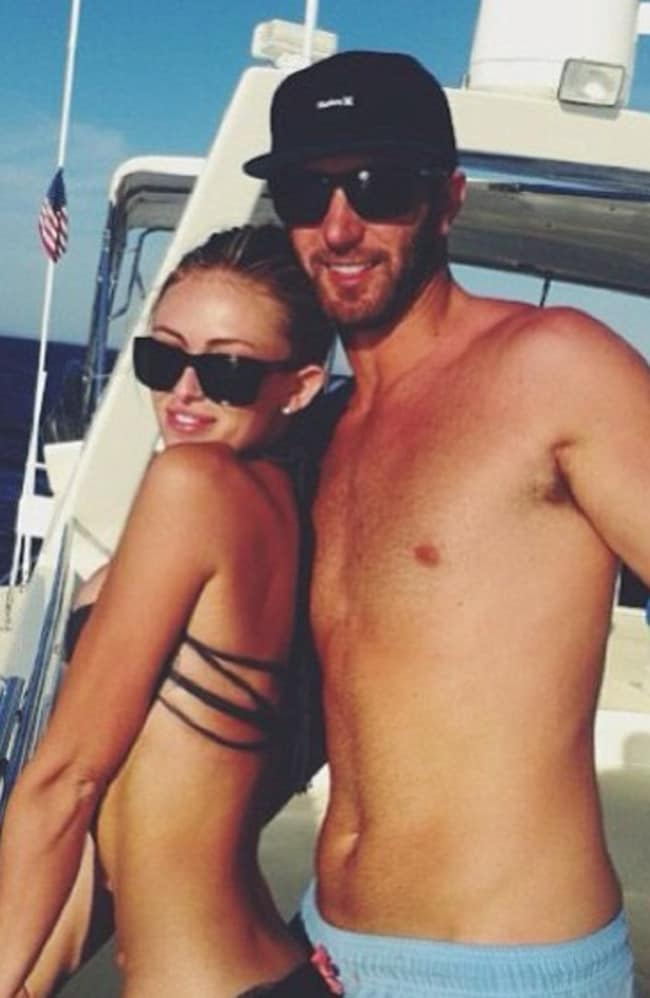 Golfer Dustin Johnson with his fiancee Paulina Gretzky, the daughter of ice hockey legend Wayne Gretzky.