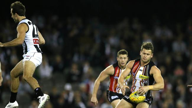 Steele Sidebottom collects Maverick Weller in the opening seconds of Friday night's clash. Picture: Wayne Ludbey