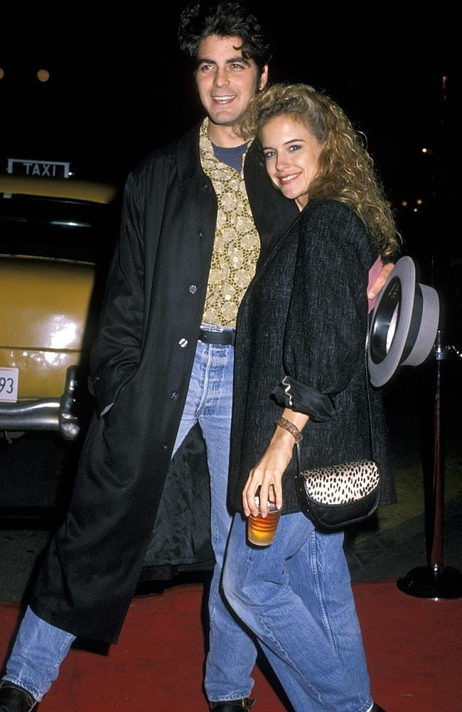 Around 1998 Clooney started seeing the now wife of John Travolta, Kelly Preston, the paire even shared custody of a pet pig, Max, who died in 2006. Picture: Ron Galella/WireImage)