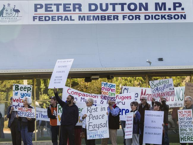 Members of the Refugee Action Collective protest outside Peter Dutton's office in Queensland earlier this month. Picture: AAP