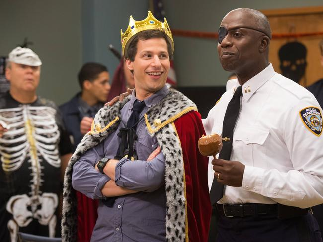 Samberg and Braugher, as Captain Ray Holt, in a Halloween episode. Picture: Supplied