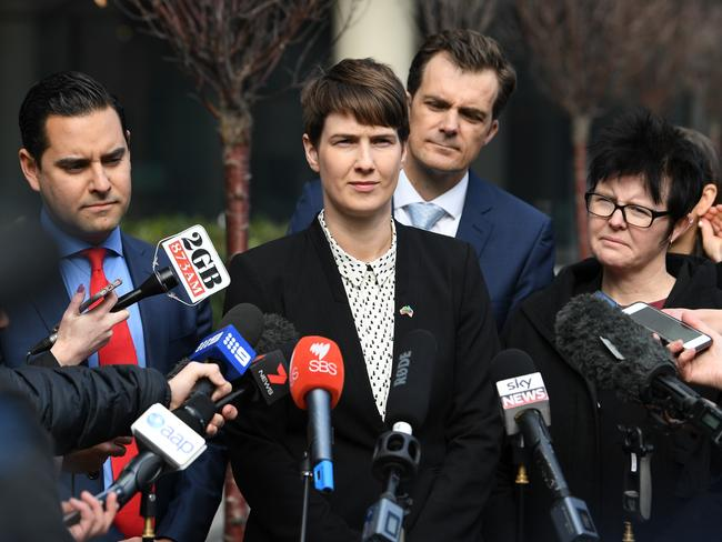 Entering the ring. (From left to right): Australian Marriage Equality co-chair Alex Greenwich, Human Rights Law Centre director of legal advocacy Anna Brown, Public Interest Advocacy Centre chief executive officer Jonathon Hunyor and Director of Rainbow Families Victoria Felicity Marlowe address the media outside the High Court in Melbourne today. Picture: James Ross/AAP