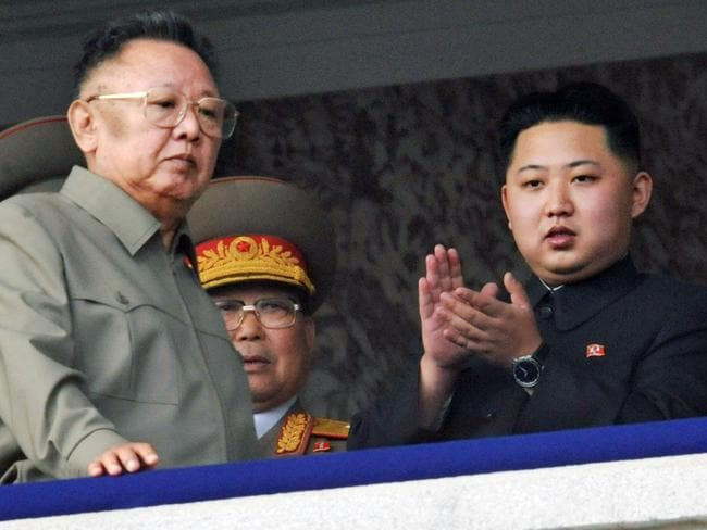 Kim Jong-u, right, pictured with his father and Kim Jong-il in 2010. Picture: AP/Kyodo News