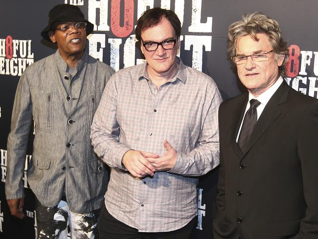 Down Under ... Samuel L. Jackson, Quentin Tarantino and Kurt Russell in Sydney for the premiere of The Hateful Eight. Picture: AP
