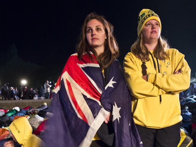 ANZAC day ... Erinn Cooper, 22 and Laetitia Merlehan, 23 from the Gold Coast attend the Gallipoli dawn service in April. Around 4500 people travelled to Turkey for the ceremony last year. Picture: Ella Pellegrini
