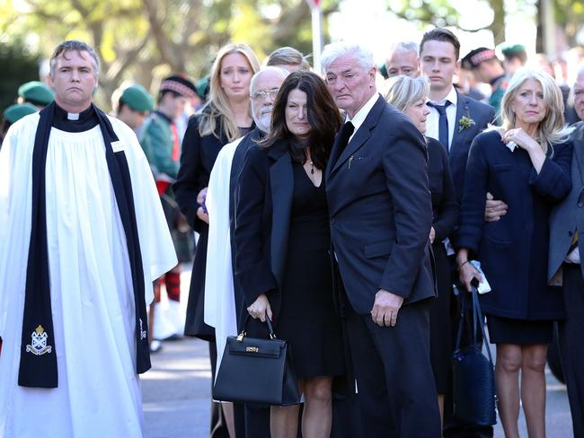 Robert Hampshire, centre, at the 2014 funeral of his son James Teague at Scots College in Darling Point, Sydney. Picture: Craig Greenhill.