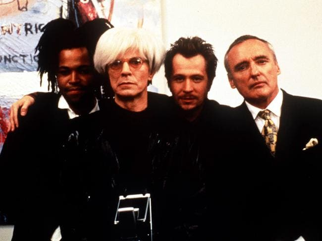 "Actors (L-R) Jeffrey Wright, actor and singer David Bowie, Gary Oldman and Dennis Hopper in 1997 film ""Basquiat"". Picture: Supplied"