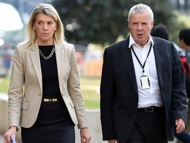Kitty Chiller, who didn't seek reappointment for 2020, and media director Mike Tancred. Picture: AAP
