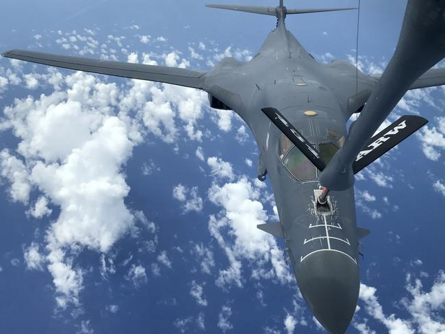 A US Air Force B-1B Lancer assigned to the 37th Expeditionary BombSquadron refuels during a 10-hour mission from Andersen Air Force Base, on Guam, to the Korean Peninsula. Picture: AFP US AIR FORCE