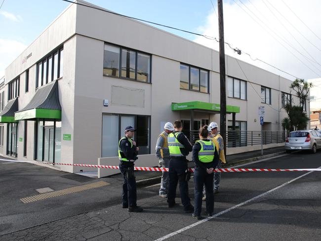 People trapped inside the Headspace Barwon building due to a power line that has fallen on the entrance. Picture: Mike Dugdale