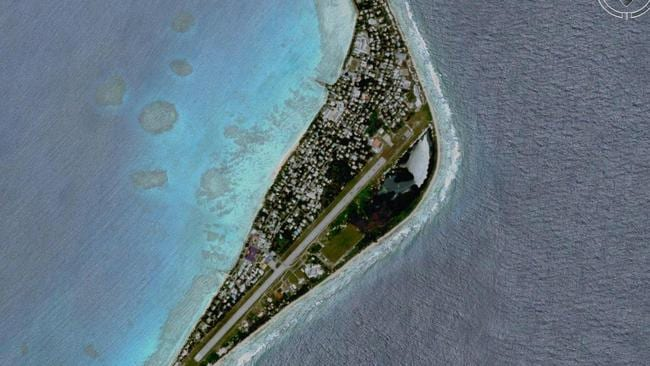 An aerial view of the South Pacific islands of Tuvalu/Funafuti (Google Earth).