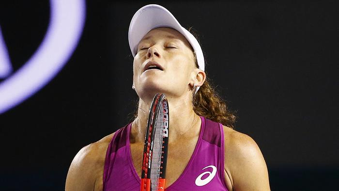 Sam Stosur reacts after losing her first round match against Kristyna Pliskova. Picture: Colleen Petch