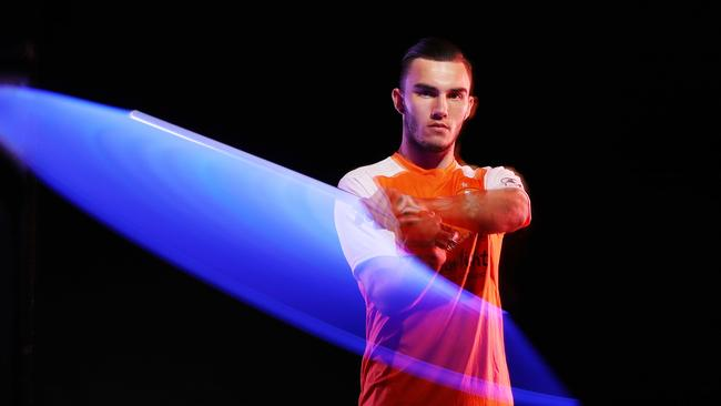 Brisbane Roar's Nick D'Agostino wields a light sabre ahead of the A-League's Star Wars round.