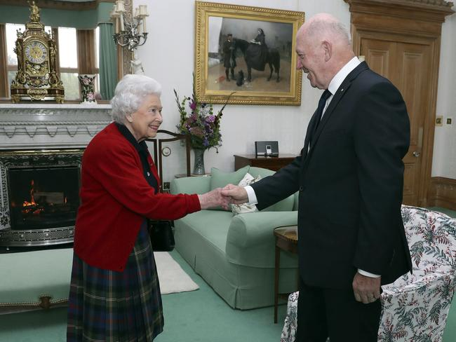 Queen Elizabeth meets Australia's Governor-General Sir Peter Cosgrove during a private audience at Balmoral Castle in Scotland last week. Picture: AP