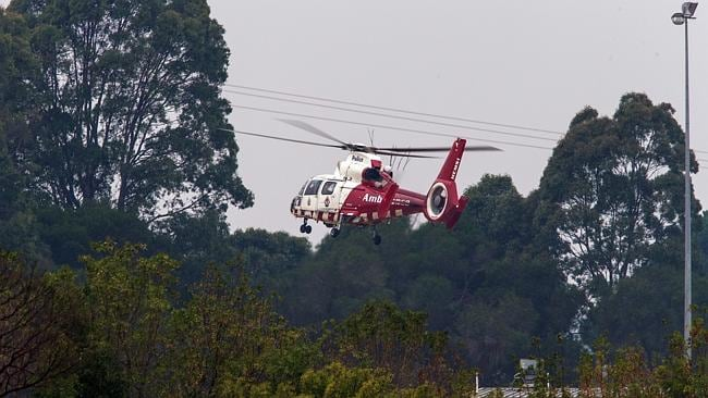 The air ambulance at the reserve last night. Picture: Gary Sissons, Mornington Peninsula News Group